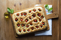 Foccacia on wooden table. Healthy food Royalty Free Stock Photos