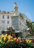 Foch fyrkant och Napoleon Bonaparte staty i Ajaccio arkivbilder