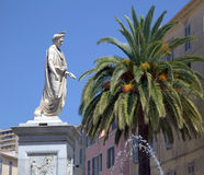 Foch square and bonaparte statue in in Ajaccio Royalty Free Stock Photo