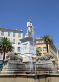 Foch square and bonaparte statue in in Ajaccio Royalty Free Stock Images