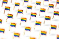 Foco bajo del DOF en grupo de las banderas del arco iris LGBTQ Concepto del s?mbolo del mes del orgullo gay En el fondo blanco re libre illustration