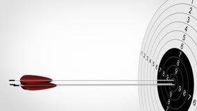Foco das setas ao alvo do tiro ao arco ilustração 3D Foto de Stock