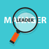 Foco de la palabra del negocio del concepto del líder del encargado que magnifica en el texto ilustración del vector