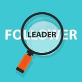Foco de la palabra del negocio del concepto del seguidor del líder que magnifica en el texto libre illustration