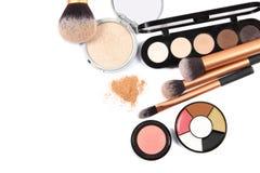 Foco de los cosméticos y de Makeup Herramientas para la opinión superior del maquillaje profesional Fotografía de archivo