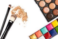 Foco de los cosméticos y de Makeup Herramientas para la opinión superior del maquillaje profesional Fotos de archivo