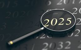Foco el año 2025 Foto de archivo libre de regalías