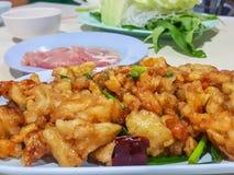 Foco em Kung Pao Chicken, alimento tailandês fotos de stock royalty free