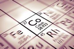 Foco en el elemento químico del cobalto fotos de archivo libres de regalías