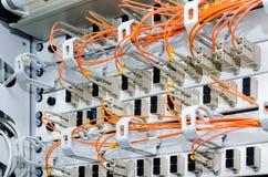Foco en los cables de fribra óptica Imagenes de archivo