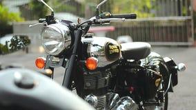 Foco lateral de la cacerola 01 de la motocicleta almacen de video