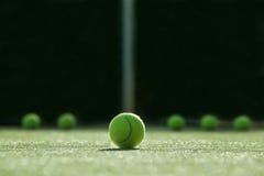 Foco macio da bola de tênis na corte de grama do tênis Foto de Stock Royalty Free