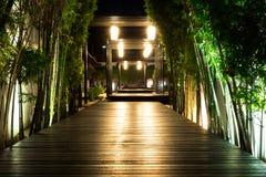 Foco macio do trajeto de madeira preto do jardim com bambu em ambos lado imagem de stock