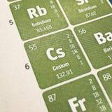 Foco no elemento químico do césio fotos de stock