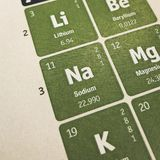 Foco no elemento químico do sódio imagens de stock royalty free