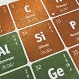 Foco no elemento químico do silicone imagem de stock royalty free