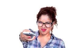 Foco selectivo cambiante del canal de la muchacha Imagen de archivo libre de regalías