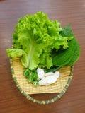 Foco selectivo de la lechuga, de la albahaca canosa, de la pimienta verde con las rebanadas y del ajo cortado en rebanadas fotografía de archivo