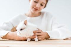 Foco selectivo de la muchacha sonriente que sostiene el conejo peludo lindo Imágenes de archivo libres de regalías