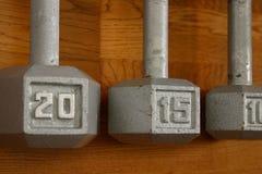 Foco selectivo Dumbells Imagenes de archivo