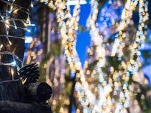 Foco selectivo en la decoración de la luz de la Navidad en los wi del árbol Fotos de archivo libres de regalías
