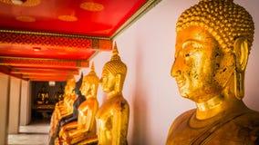 Foco selectivo Fila de las imágenes sagradas de Buddha Fotos de archivo libres de regalías