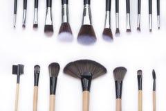 Foco selectivo para el sistema de cepillos del maquillaje Imagen de archivo libre de regalías