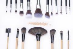 Foco selectivo para el sistema de cepillos del maquillaje Foto de archivo