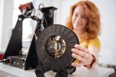 Foco seletivo de um filamento da impressora 3d Imagem de Stock Royalty Free