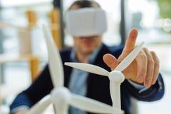 Foco seletivo de um modelo do moinho de vento Fotografia de Stock