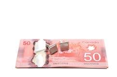 Foco seletivo de uma série de 50 dólares Foto de Stock Royalty Free
