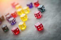Foco seletivo dos dados de vidro coloridos Imagem de Stock Royalty Free