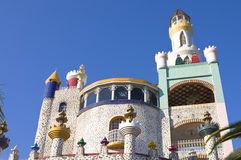 Foco Tonal Castle. Tower with spire and surrounding turrets at healing site in Cuitzeo Mexico Royalty Free Stock Photos