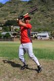 Focos do jogador de beisebol no bastão Imagens de Stock Royalty Free