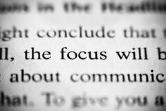 Focus. Macro photo of the word focus in a book Royalty Free Stock Photography