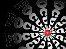 Focus. Circle of words FOCUS around red focus point Vector Illustration