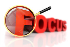 Focus. 3D rendered illustration of magnifier aiming at the word Focus, focusing on one of its letters while the others are out of focus stock illustration