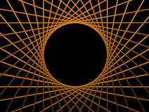 Focus. Background illustration - golden net on black background with round hole Stock Images