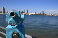 Focus. Coin-operated view finders pointed at downtown San Diego from Coronado stock images