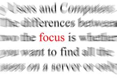 Focus. Blurry image of the word focus Stock Image