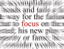 Focus. Blurred text with a focus on Focus Royalty Free Stock Photography