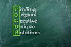 Focus acronym. Acronym of Focus on green chalcboard royalty free stock photos