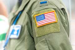 Focus on american flag on USAF uniform of person. royalty free stock photography
