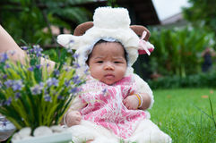 Focus at Asian newborn baby girl with costumes little sheep in the garden and mother is holding her. Royalty Free Stock Images