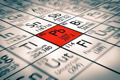 Focus on bad lead chemical elements. Inserted in mendeleev periodic table royalty free stock images