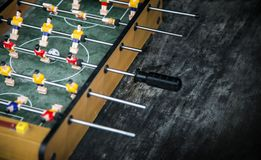 Focus ball in start soccer table game. Boy toy sport game concep. T. Soccer table is relax activities indoor for kid and family Stock Image