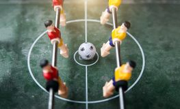 Focus ball in start soccer table game. Boy toy sport game concep. T. Soccer table is relax activities indoor for kid and family Stock Images