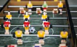 Focus ball in start soccer table game. Boy toy sport game concep. T. Soccer table is relax activities indoor for kid and family Royalty Free Stock Photos