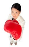 Focus on boxing gloves. Against a white background Stock Photos