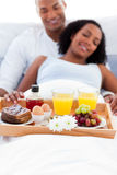 Focus on a breakfast tray Royalty Free Stock Photos